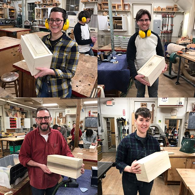 "Last nights ""Basic Box""  graduating class!  To introduce beginning woodworkers to the craft of working with solid wood we teach them how to make this Poplar box from rough sawn lumber. This box was originally designed to hold whale blubber candles as they traveled from New England to England. Thanks to @lavender_menace_press for teaching this class with me! #eliotschool #eliotschoolcraft #woodworking #woodworkingclasses"