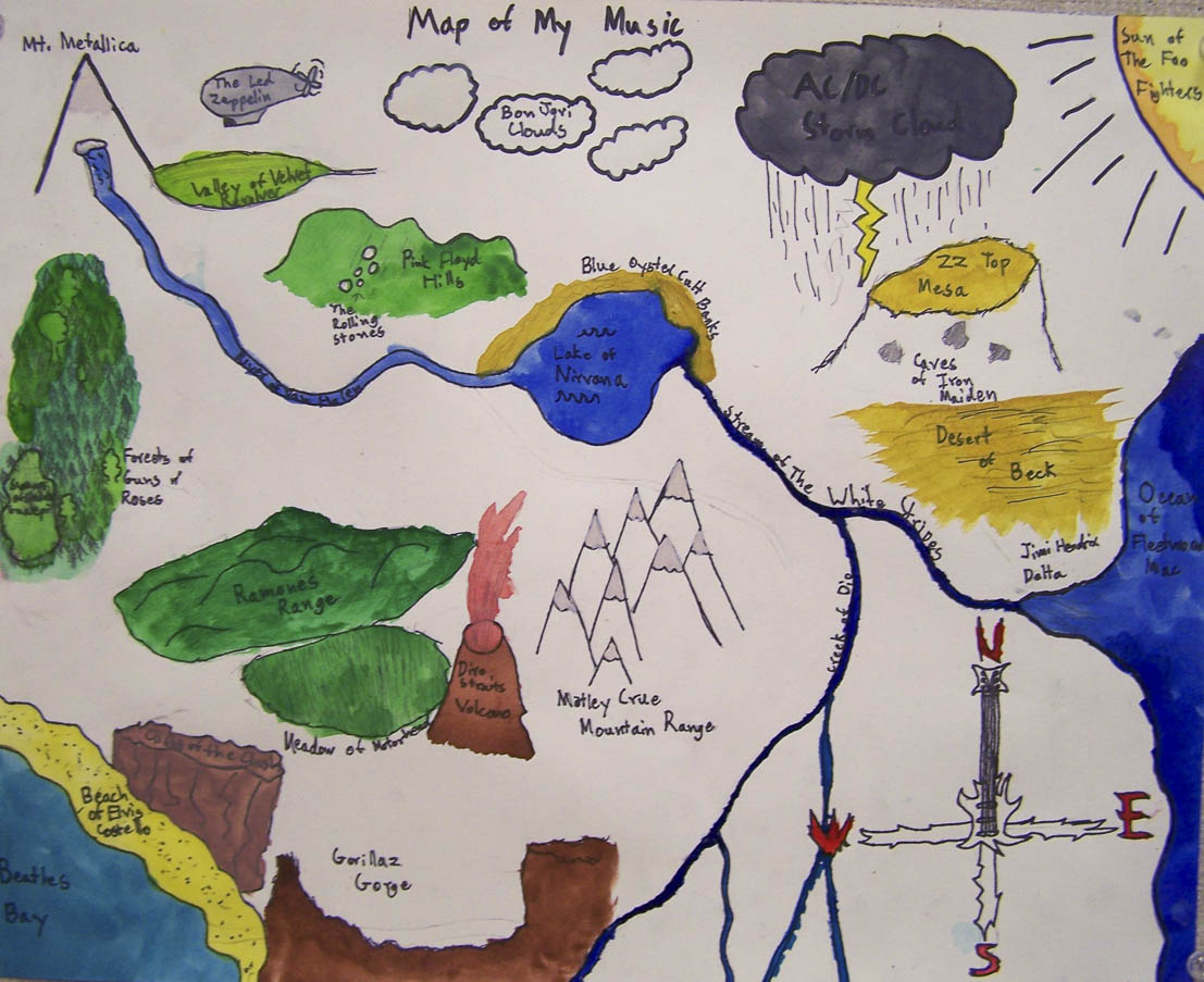 Students looked at how artists use maps to explore relationships and tell stories of identity, conflict and reveal networks. Students chose concepts of their own to map into landscapes that tell stories.