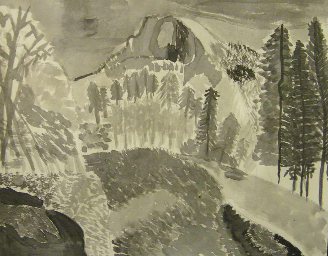 Before an annual class trip to Yosemite, students looked at the work of Ansel Adams and 20th century Black and White nature photography. Students recreated images to learn about grayscale.