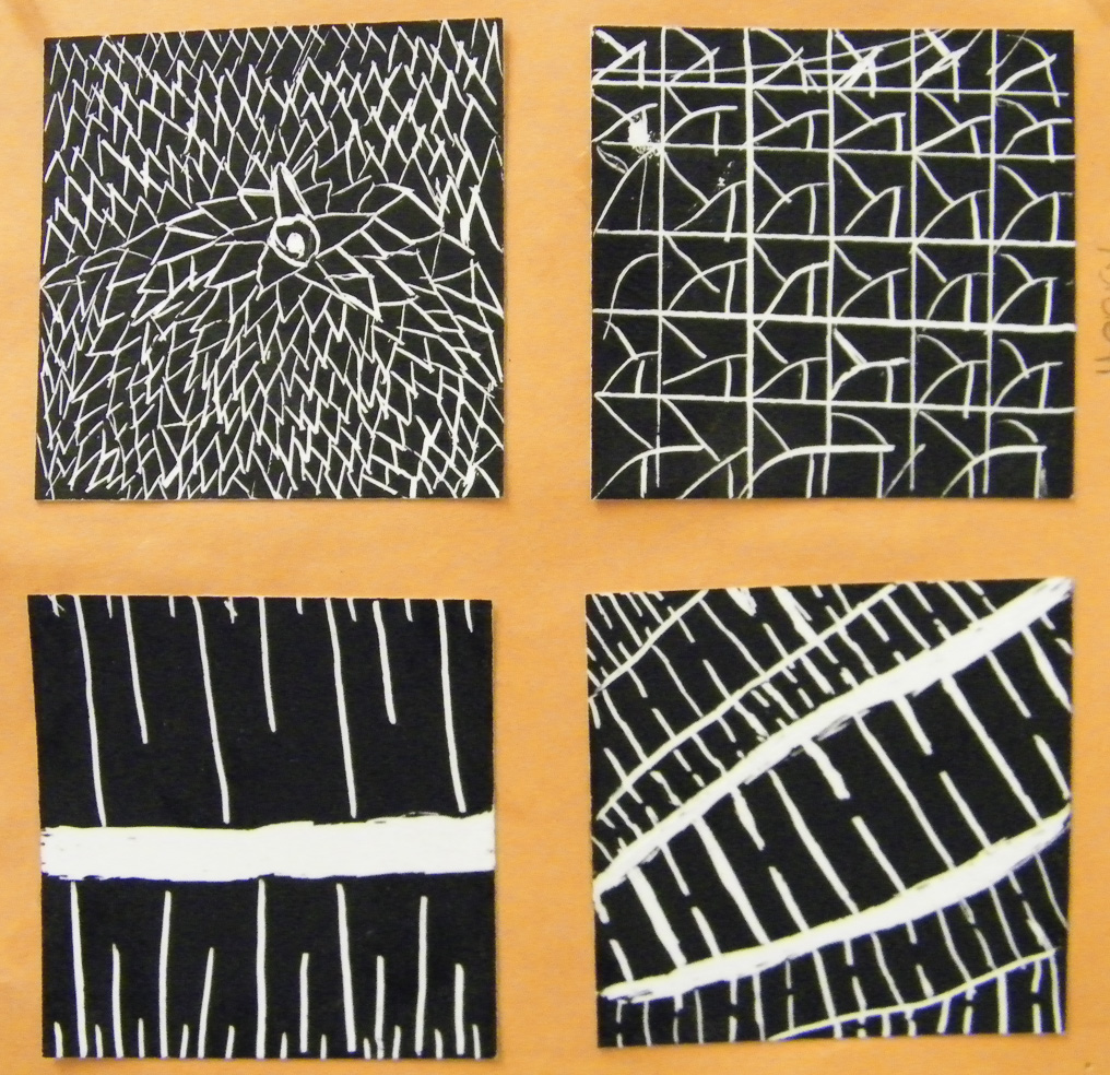 After a walk around the neighborhood, students created sgraffito style thumbnail sketches of patterns found.