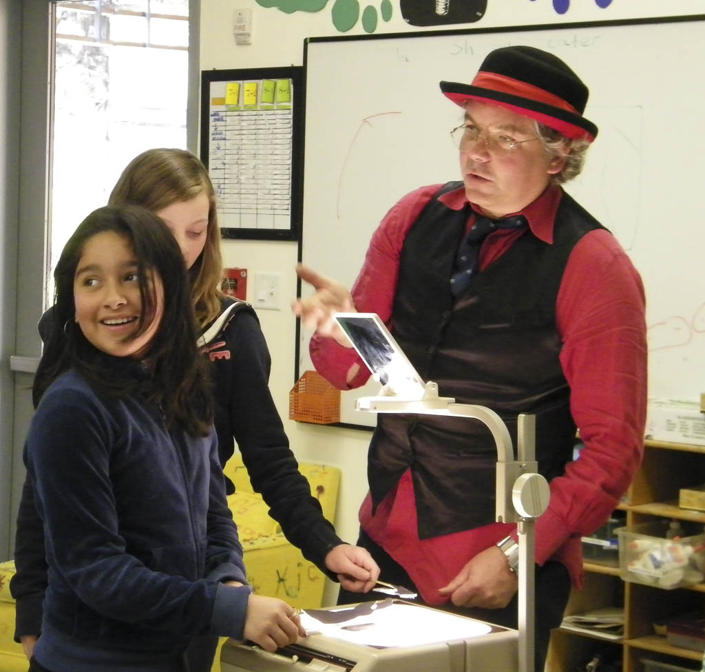 As a collaboration with guest puppeteer Leonidas Kassapides students created stories of travel, history, fairytales and modern love. They performed their plays for an assembly of middle schoolers.