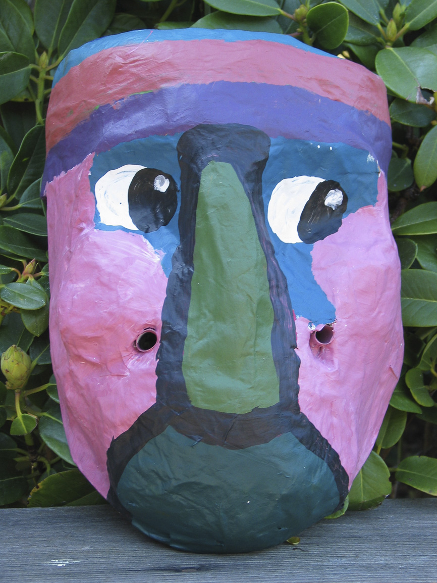 Students learned their their own faces could be used as armatures and worked with plaster strips to create masks.