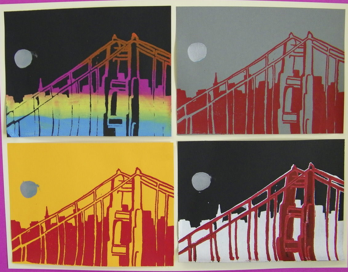 Students explored silkscreening as a pop culture alternative to traditional etching and relief printing.