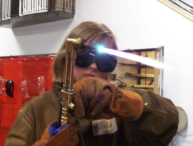 During an art intensive, students gained exposure to many materials, including an introduction to welding.