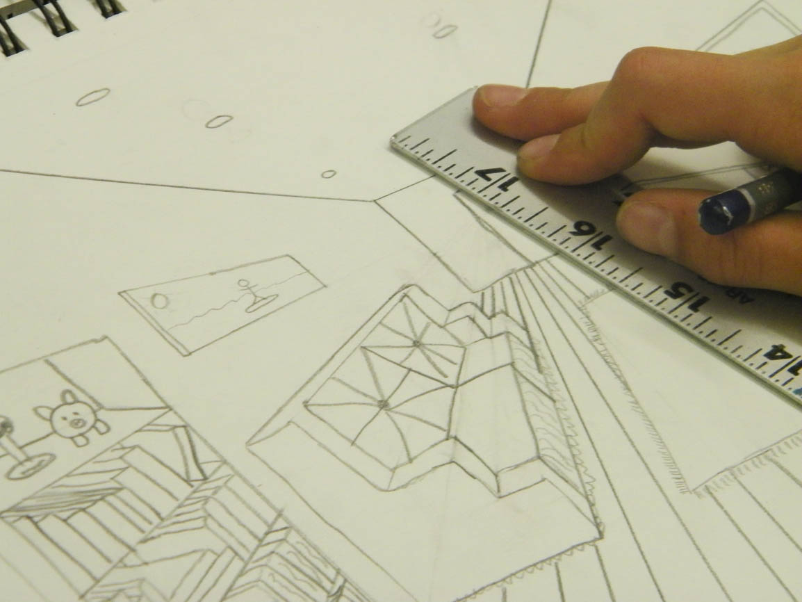 Students practiced one-point and two-point perspective with projects such as drawing their room or a building.