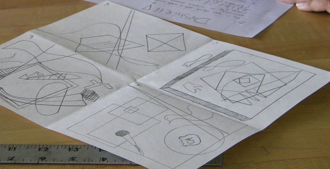 Students practice composition ideas with thumbnails which help them work through their ideas before the final painting.