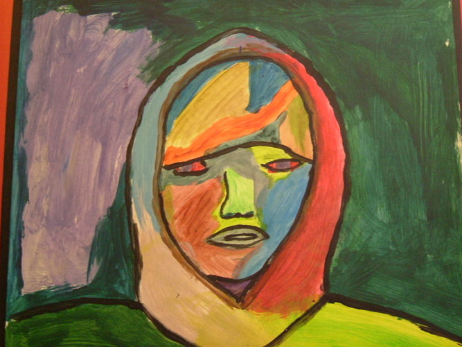 After learning about Abstract Expressionism, and in particular the work of Alexej Jawelensky, students created self-portraits and practiced creating their own color palettes.