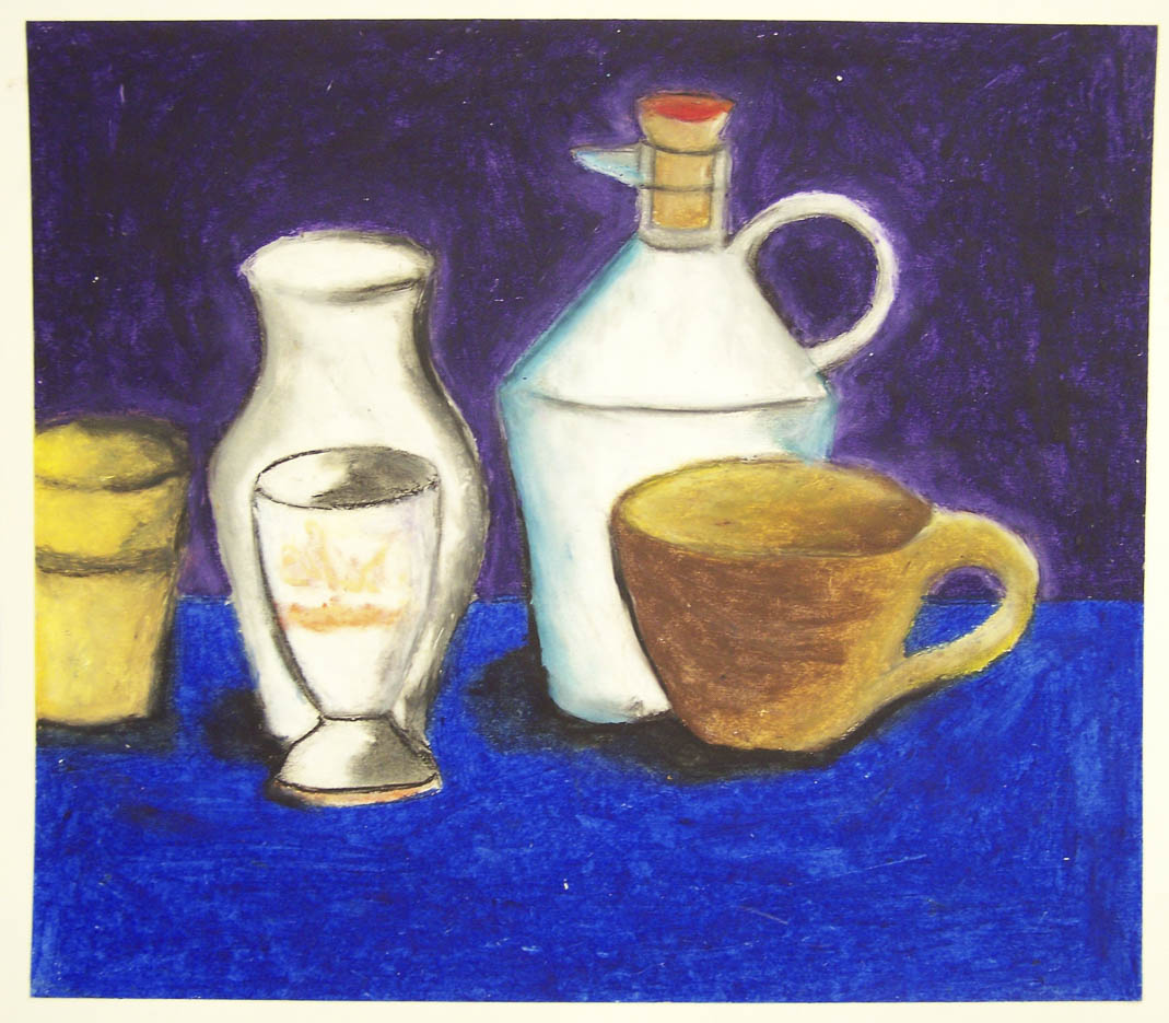 After looking at the work of Georgio Morandi, students practiced drawing cylindrical shapes in oil pastel, focusing on the relationship between objects to create their composition.