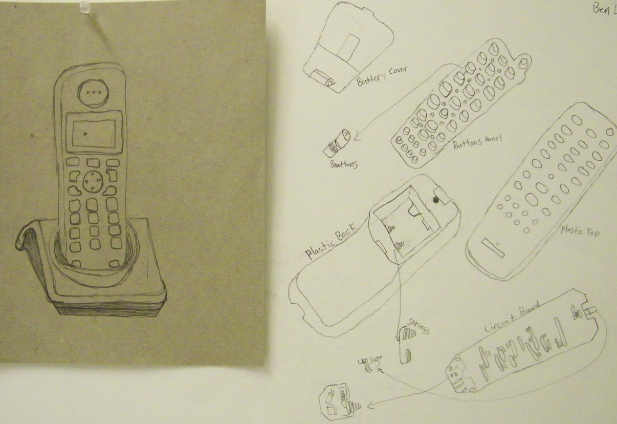 After taking apart machines to find out what was inside, students used the images as a basis for a contour line drawing exercise.