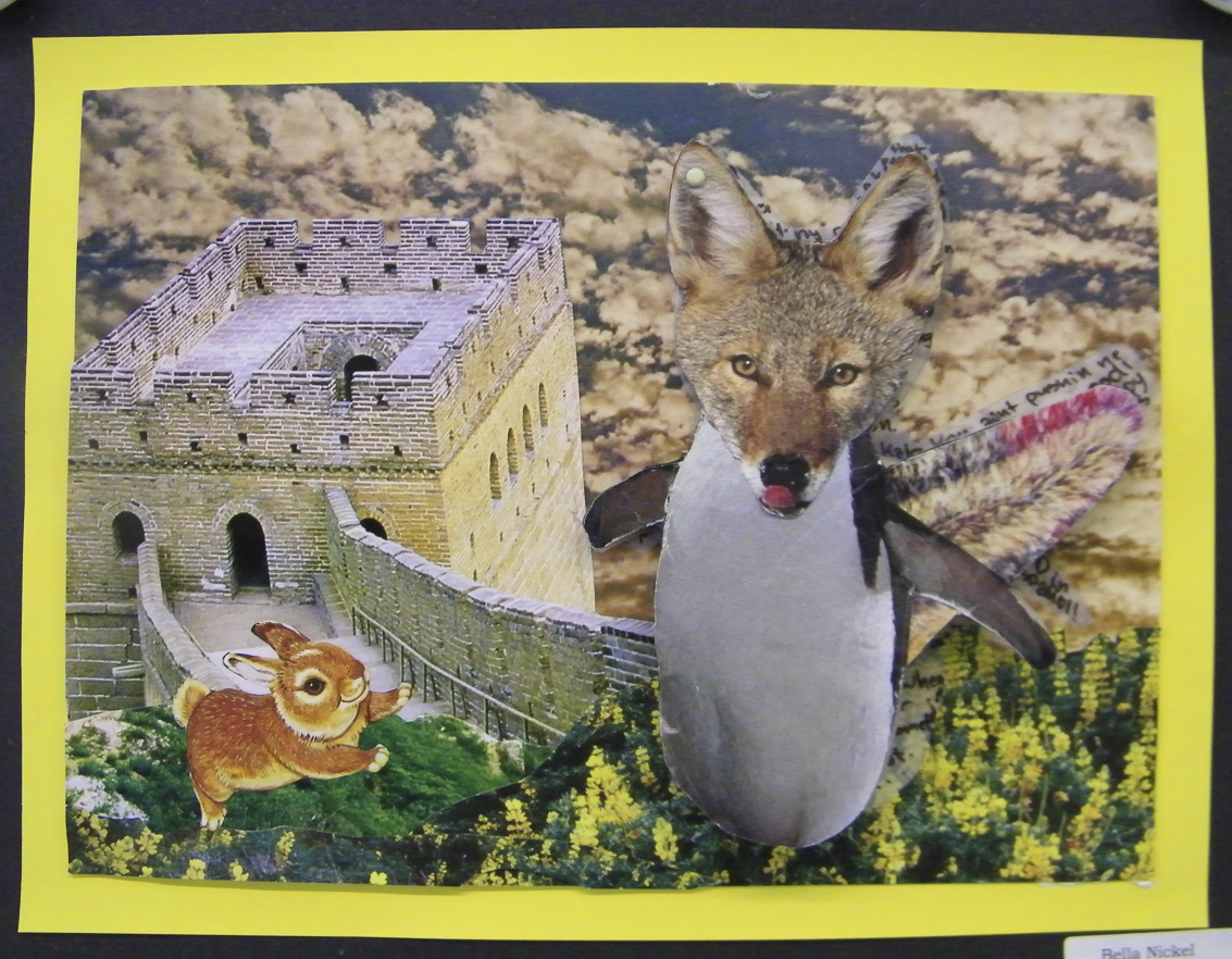 After learning about some of the games of the Surrealists such as Exquisite Corpse and free-writing, students created a Surreal Species collage. They created a name for their species, as well as found where their species diverged from traditional taxonomies.