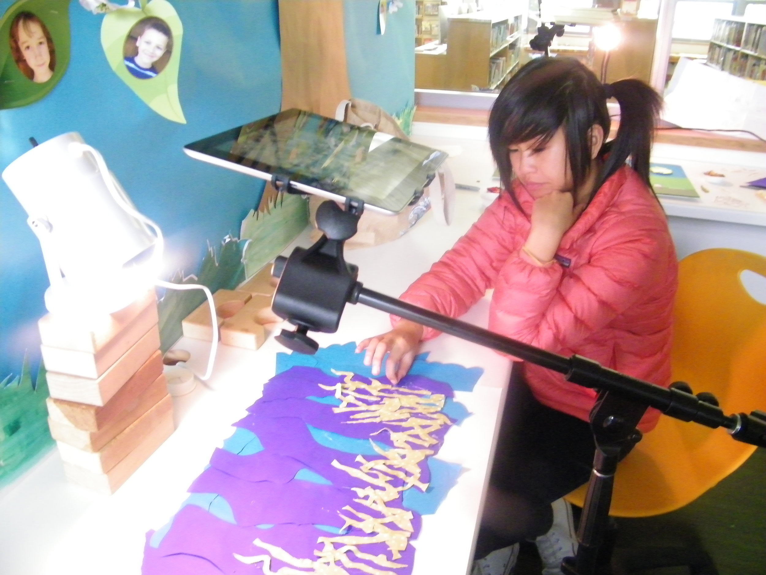 Students worked on stop-motion animation using iPads and iStopMotion software.