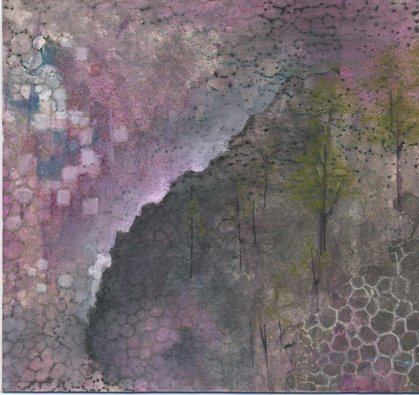 """Other Forests  mixed media on paper,  7"""" x 8""""    2014"""