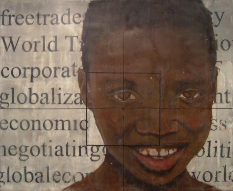 "Mali III   Encaustic on Wood Panel, 20"" x 24""  2007"