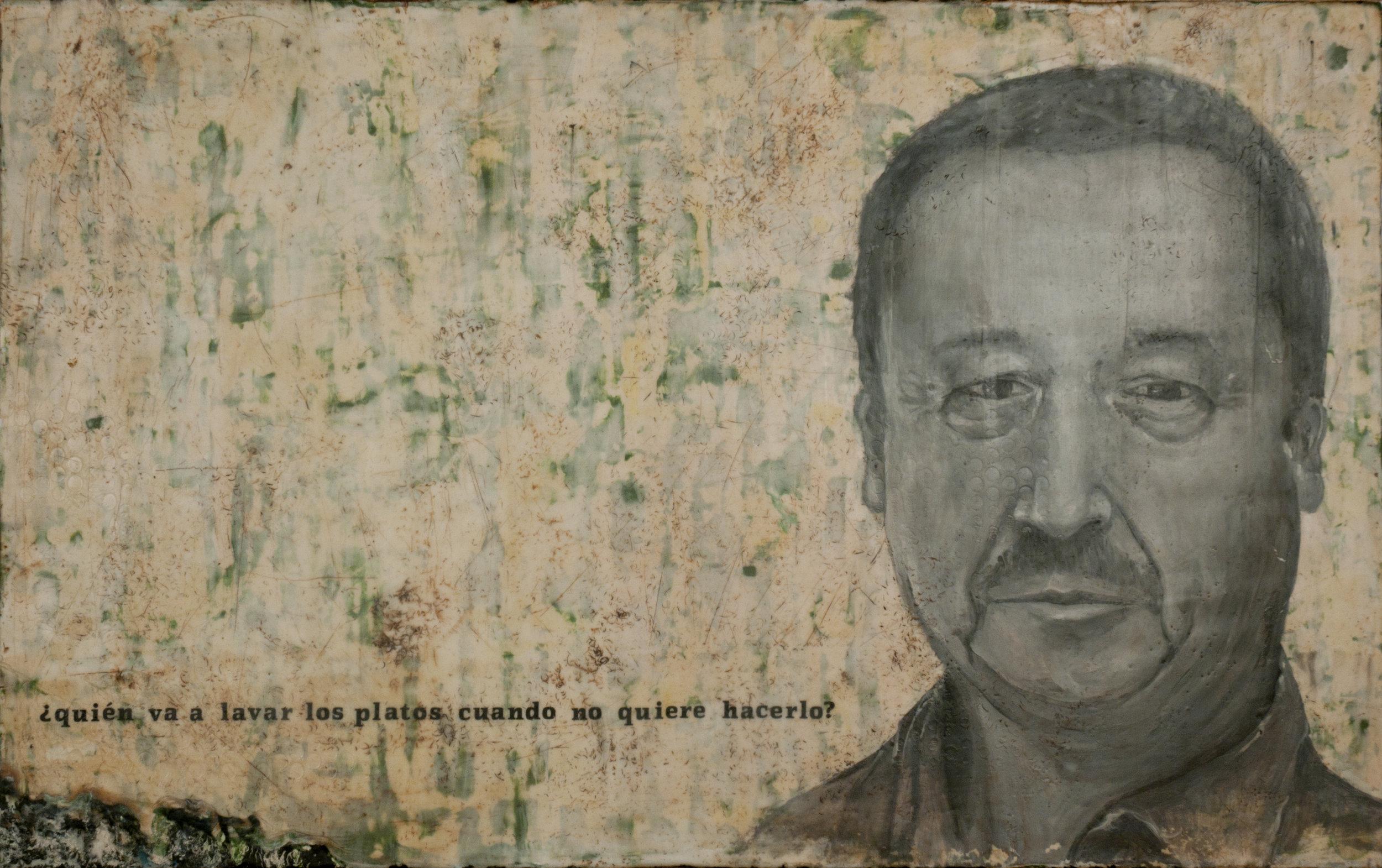"""José  encaustic on wood, 28"""" x 36""""  2009"""