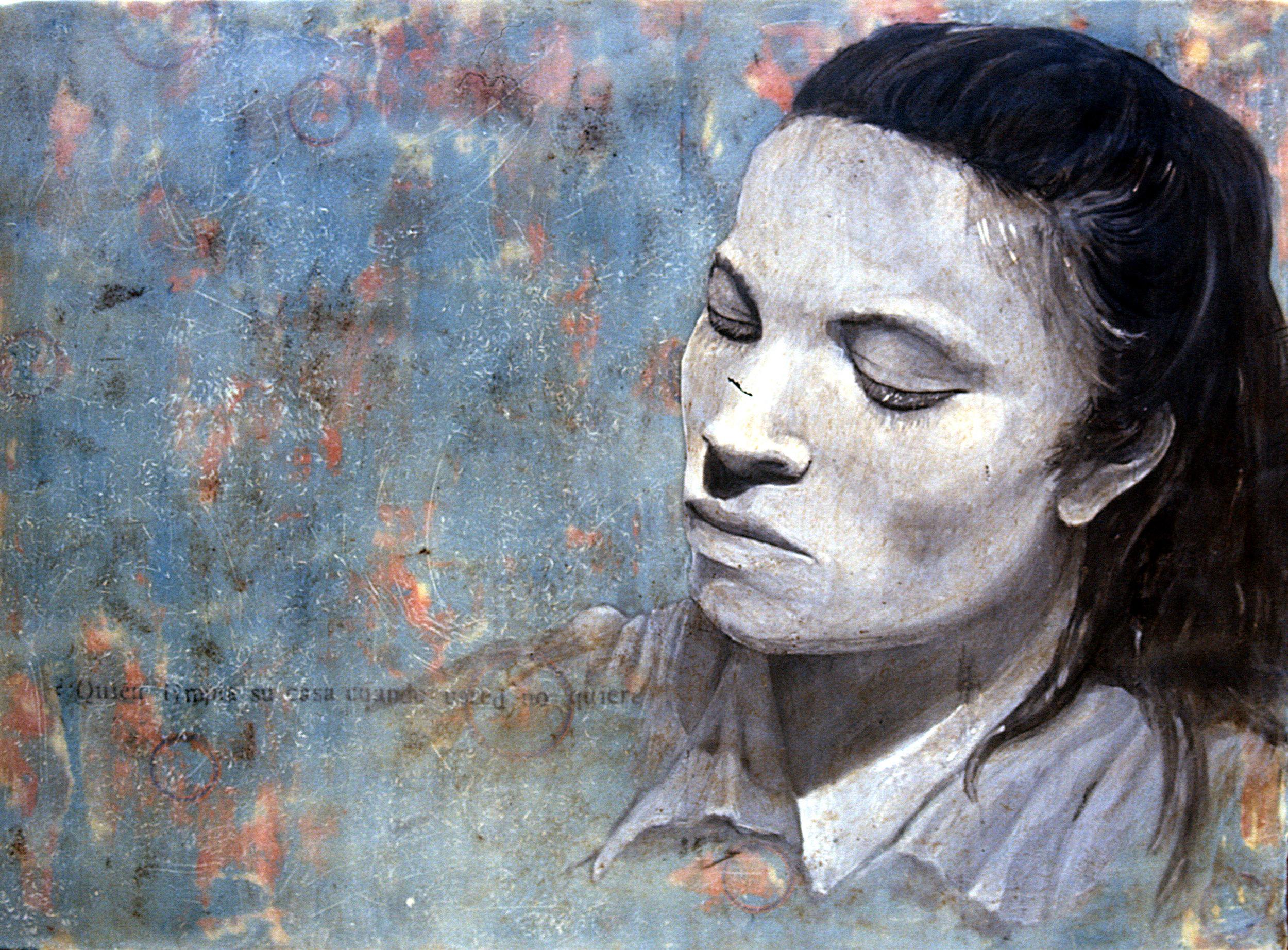 "Maria  encaustic on wood, 28"" x 32""  2009"
