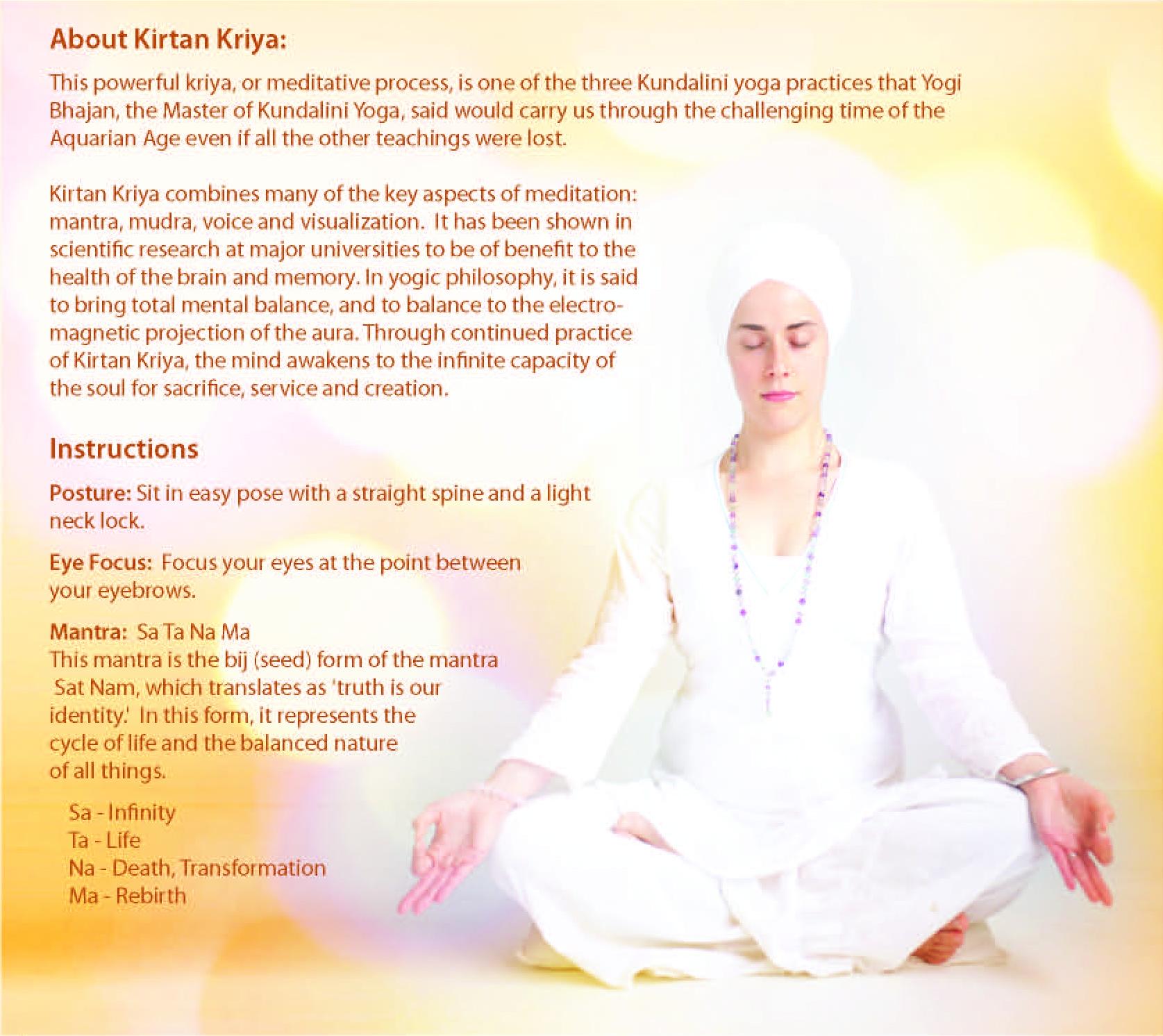 Kirtan Kriya meditation instructions — Home