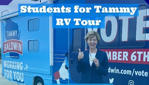 🚨Calling all students and young democrats 🚨You're invited! 📩Senator Baldwin's staff just sent us the Tammy RV tour event locations hosted by Students for Tammy! We'll be traveling across the state this weekend, so please join us if you have a break from canvassing! LET'S GO DEMS!!! . . . Free registration and location details on Facebook: https://bit.ly/2zjxlh2 - link in bio . . . Friday, Nov. 2 Whitewater 9 AM Platteville 4:15 PM La Crosse 8 PM  Saturday, Nov. 3 River Falls 2 PM Stout 4:30 PM Eau Claire 7 PM  Sunday, Nov. 4 Stevens Point 7 PM  Monday, Nov. 5 Green Bay 10 AM Lawrence 2 PM Oshkosh 4:15 PM  @tammybaldwinwi #studentsfortammy @collegedemswi @youngdemswi