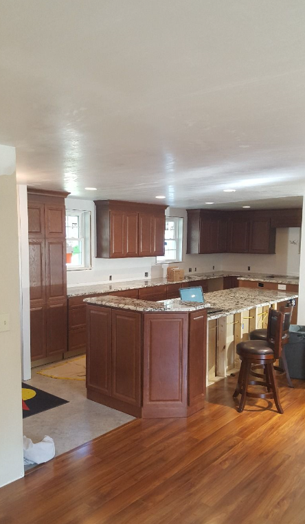 Open Kitchen after Wall Removed - Hudson, MA