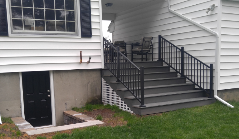 """Breezeway floor is 4' high. Wants stairs to go the total 9' wide. Stair treads to be Xtra deep, Approximately 16"""" so that they can be sat on comfortably."""