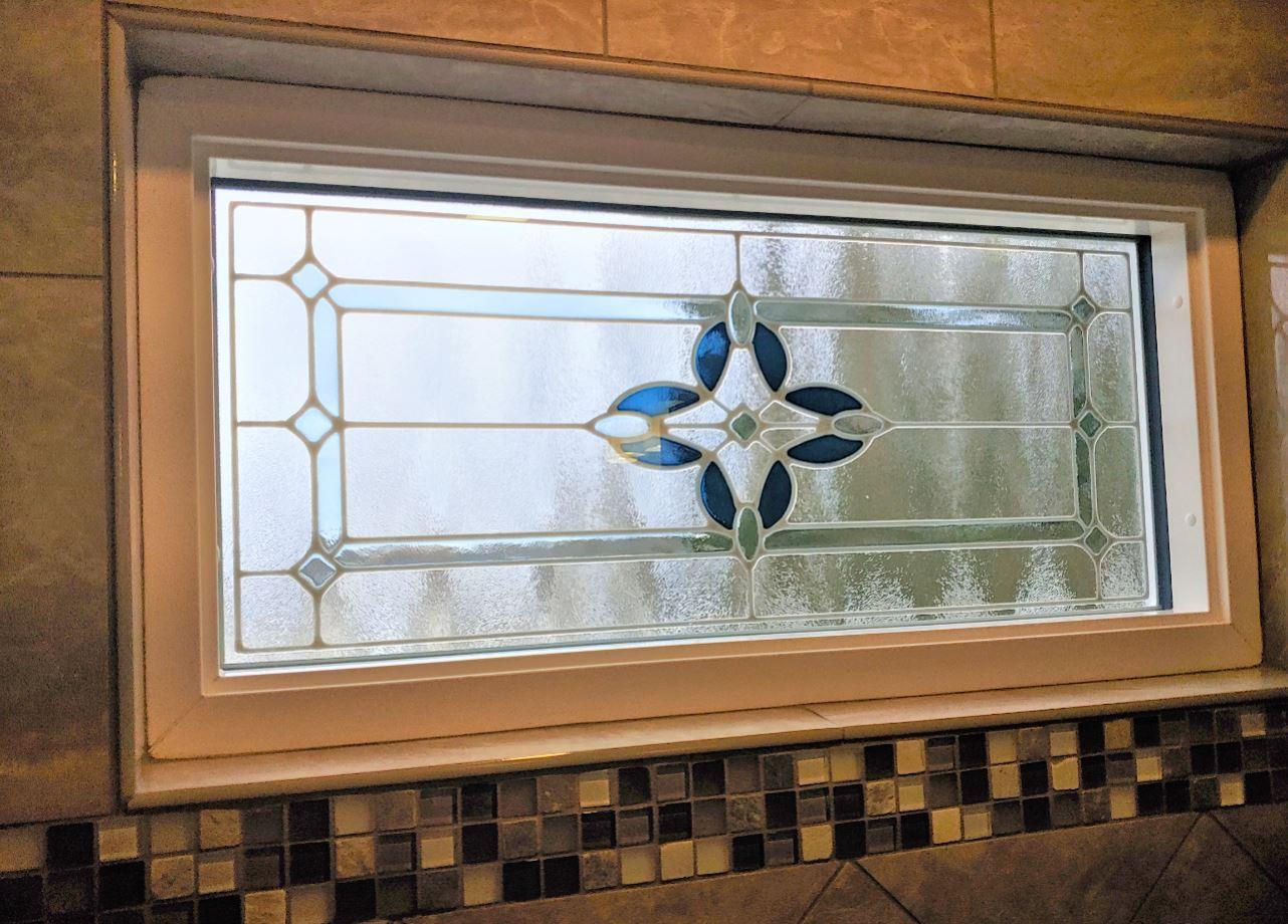Provia stained glass shower window.