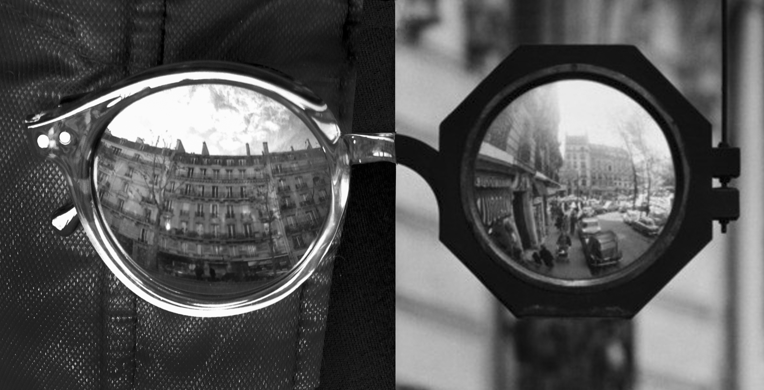 Left side is my photograph in 2012 and right side is Robert Doisneau's Lunettes Réflexion