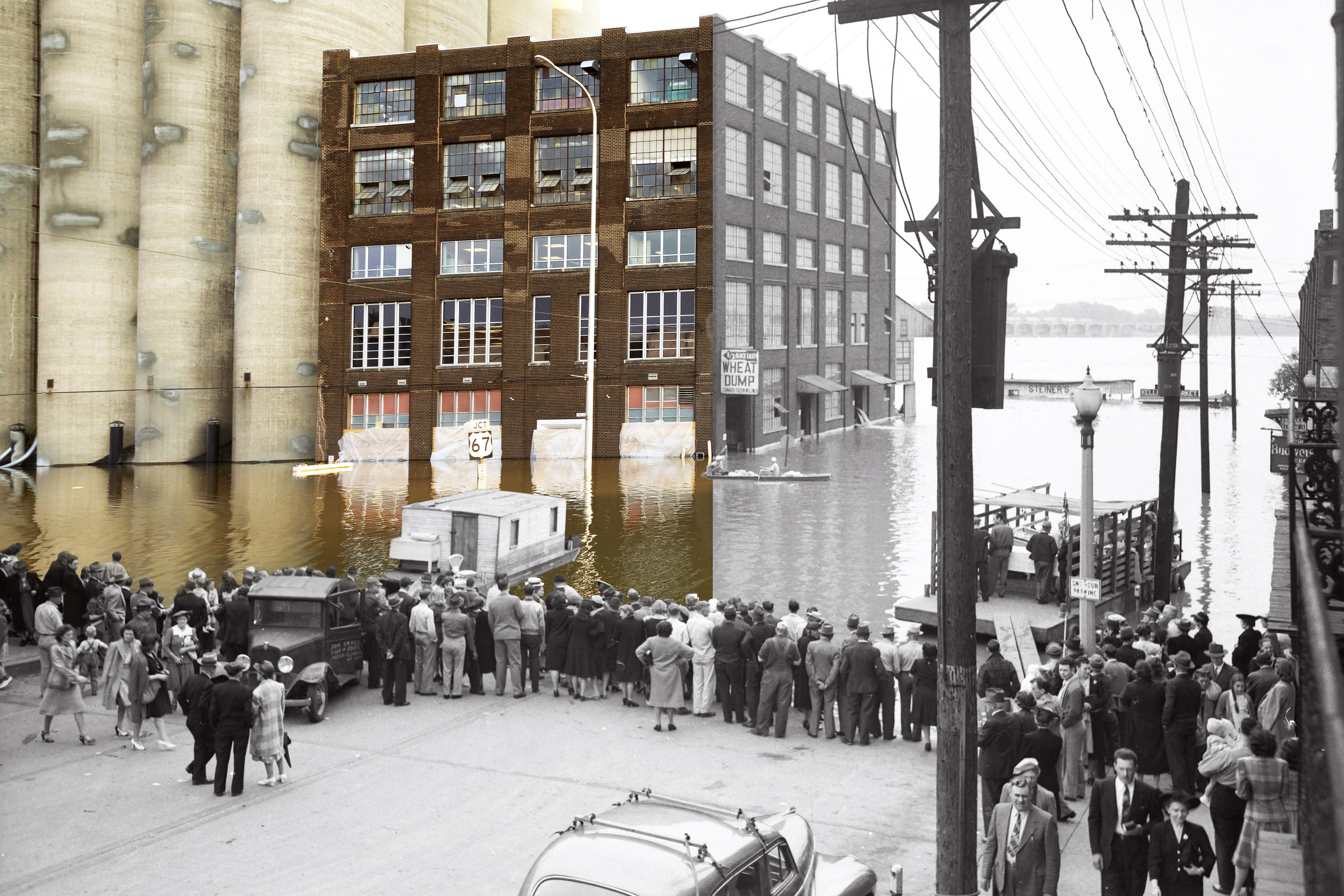 Flood Waters at State Street & West Broadway in 2019 & 1943