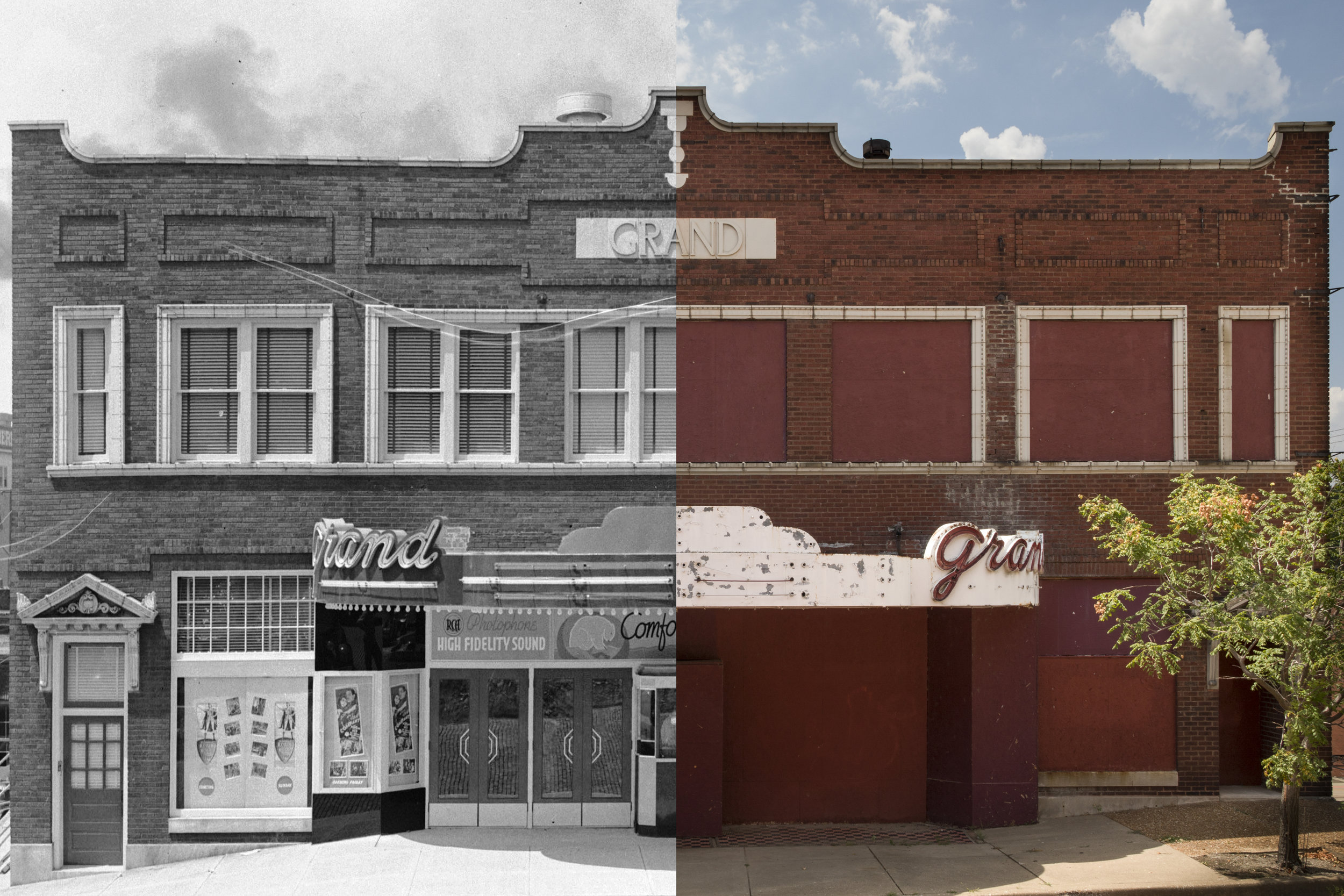 Grand Theater at Market Street and West Third in 1938 and 2018