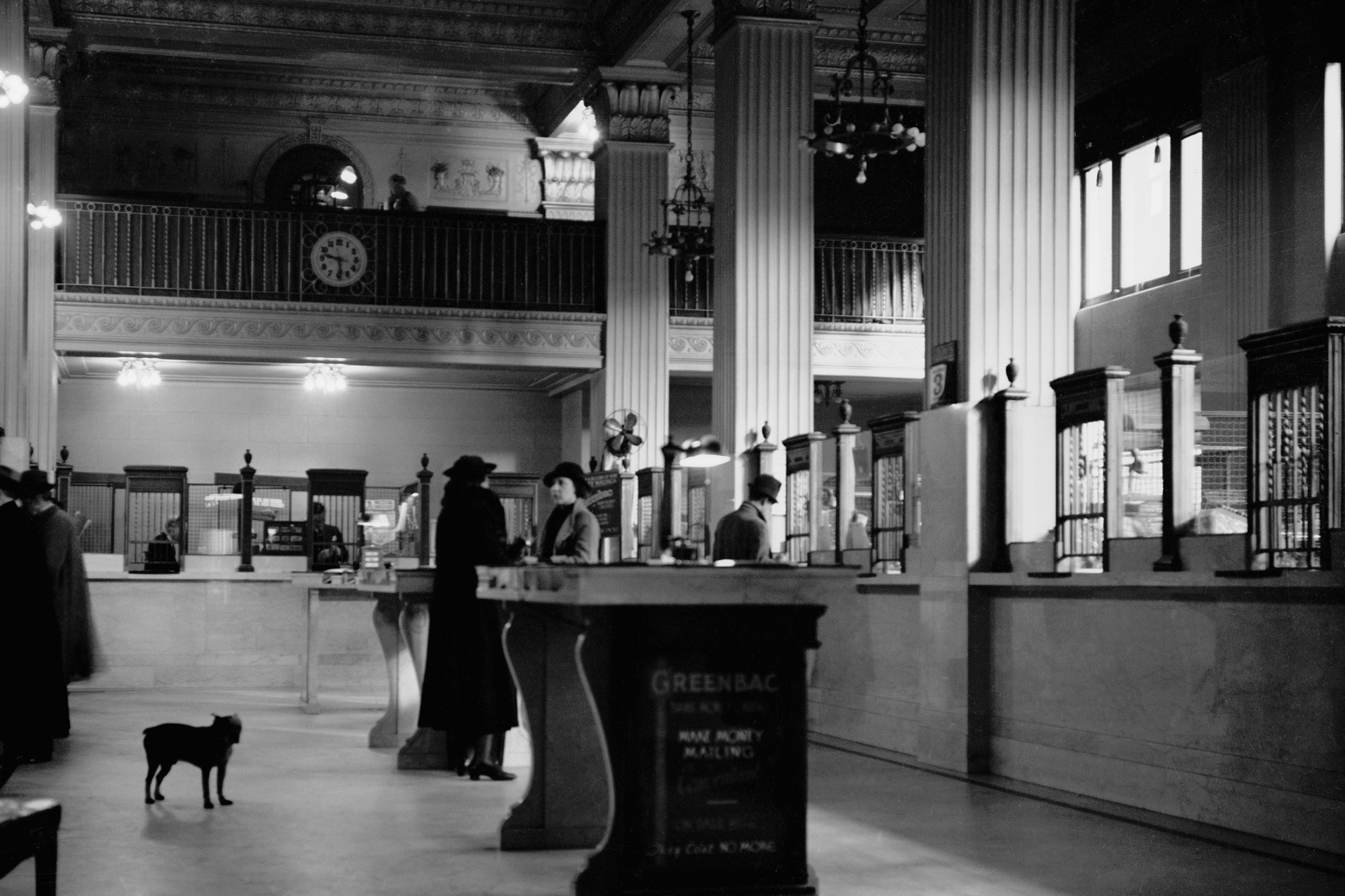 Wall 14_24x36_1936 First National Bank Interior with dog.jpg