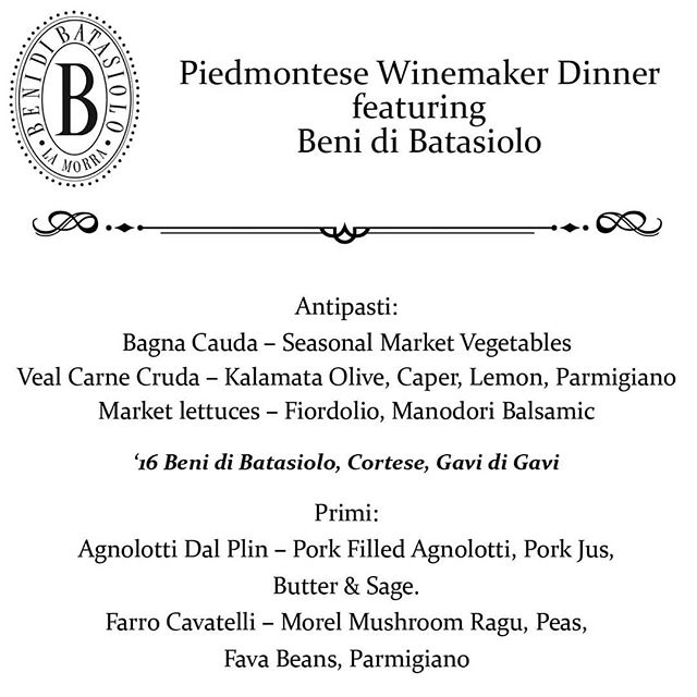 Piedmontese Wine Dinner! Please Call 415.348.8800 To Reserve Your Spot! @chefbrucehill @yarobzdivad