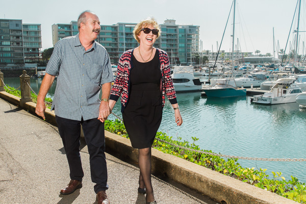 Happy Clients Walking by the Townsville Marina