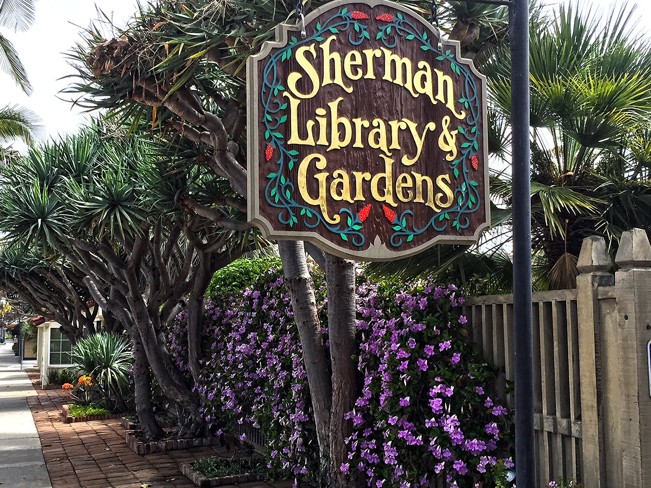 flowers and trees at the entrance to Sherman Library