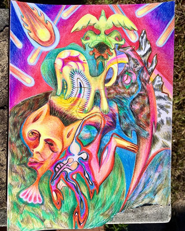 Best thing about not having a studio ready: colored pencils!  This is a musing on the last major extinction, the dying breathes of the Dino days, when the devil came down to earth to create humans.  Nice change of pace after so much sculptural focus, sometimes a doodle just wants a chance to grow.  #drawing #fun #coloredpencils #interdisciplinary #pop #funk #nightmare #revelations #doodle #artistsoninstagram #desenho #artista #artecontemporanea