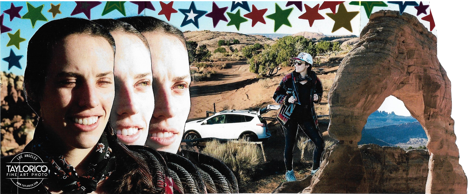 This collage was created using 35mm film photos, metallic star stickers,  an X-Acto knife, and rubber cement. Photos were captured in Moab, Utah  (namely Arches National Park and Canyonlands National Park).
