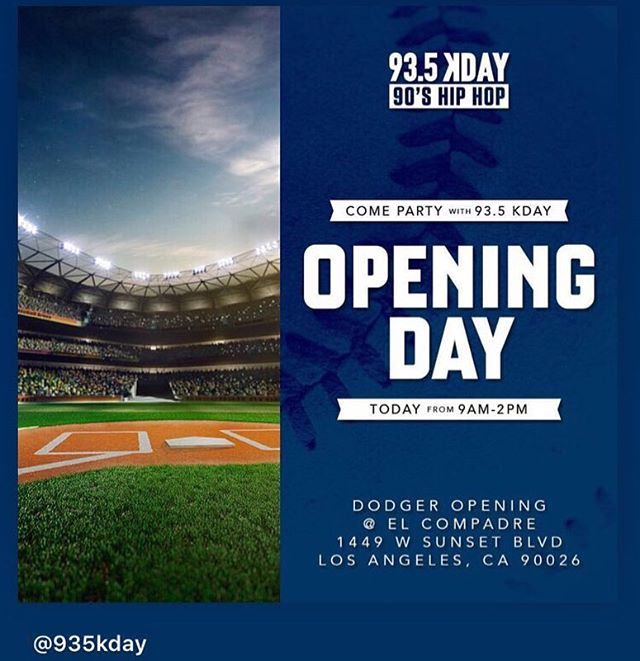 Come party with us 11am-3pm TODAY in Echo Park‼️ To kick off the season🔥 with @935kday 🔥#openingday #kdaynation #dodgers