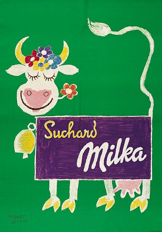 Herbert Leupin Poster Milka Cow