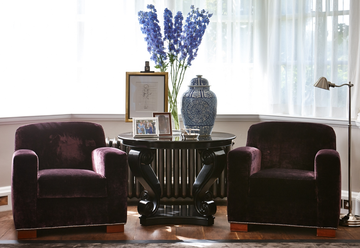 Rich velvet fabric used for the upholstery in the Ballroom from our  Ascot Lodge  project.