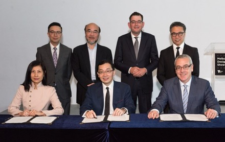 Premier Daniel Andrews in Hong Kong after signing the letter of intent with Professor Eric Yim, Hong Kong Design Centre