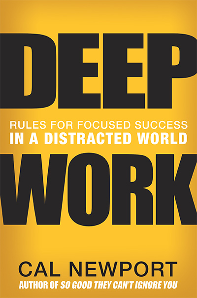 Deep Work by Cal Newport - Rating:10/10Completed:27/01/2017Key Takeaway(s):Long periods of undistracted work are becoming increasingly rare.Since reading this, I have started to treat my undistracted time as sacred.Newport opened my eyes to the concept of Deep Work (long periods of uninterrupted concentration). Now this is the only method I use to get my most important works done.Amazon: Deep Work by Cal Newport