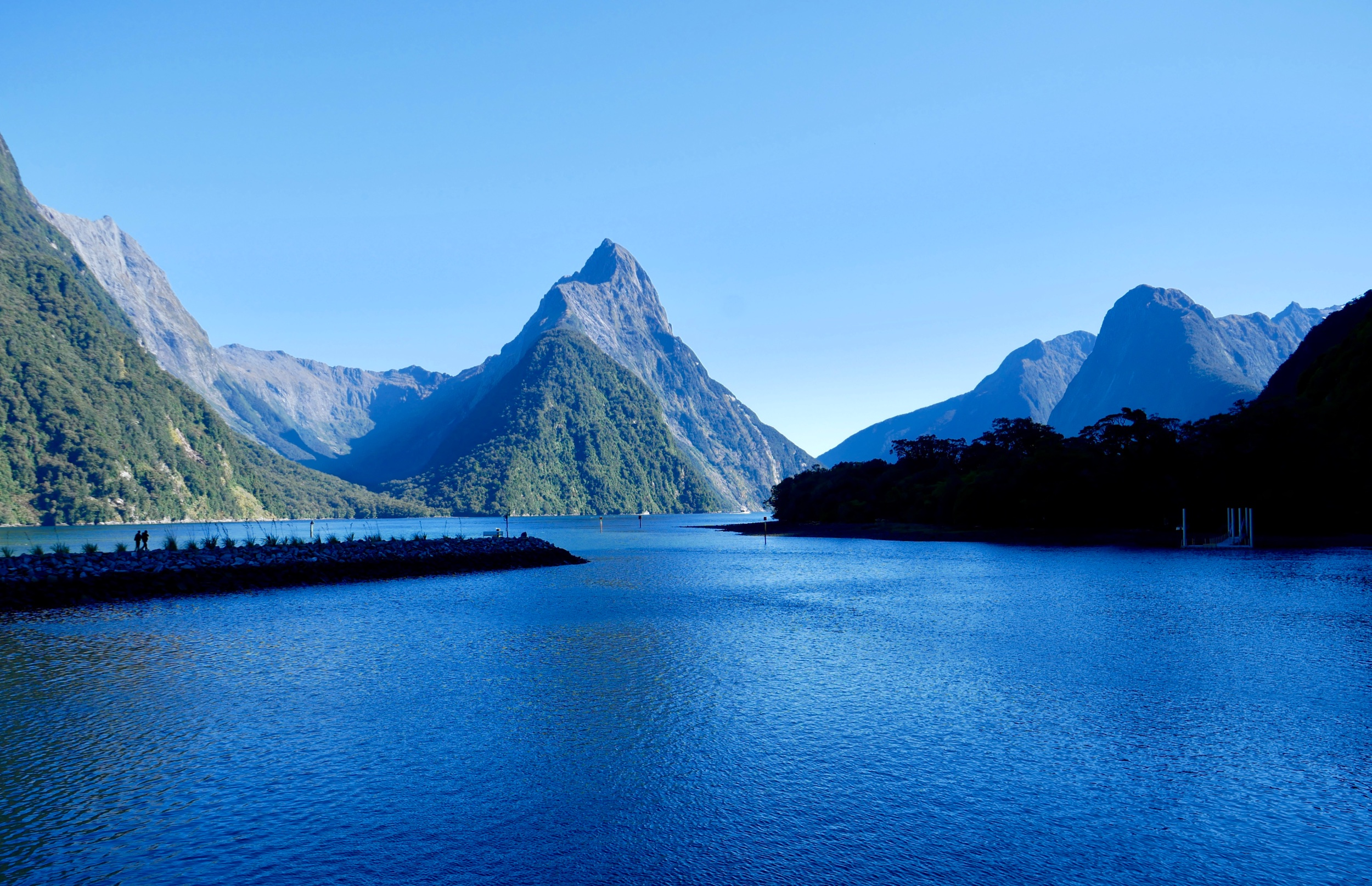 The beginning of Milford Sound from the top deck of a tour boat.