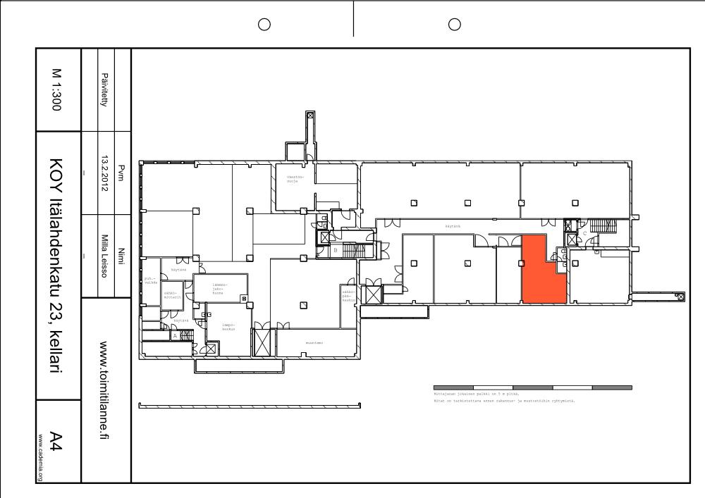 Toimitilanne Suomi, Helsinki - Lauttasaari, Itälahdenkatu 23. Varastohuone 37,5 m²