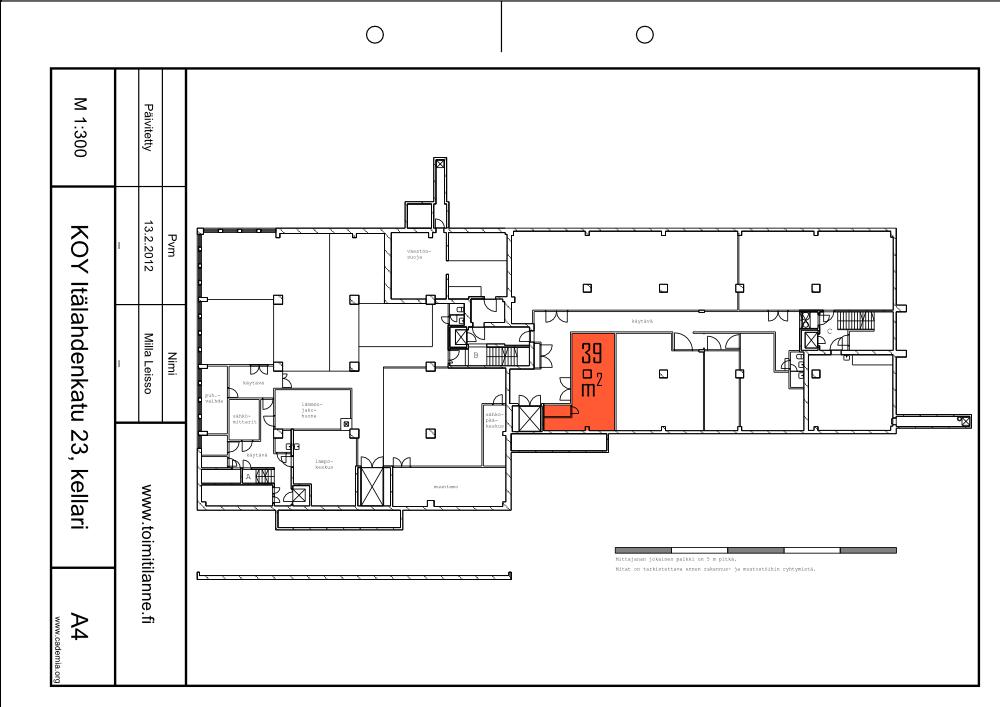 Toimitilanne Suomi, Helsinki - Lauttasaari, Itälahdenkatu 23. Varastohuone 39 m²