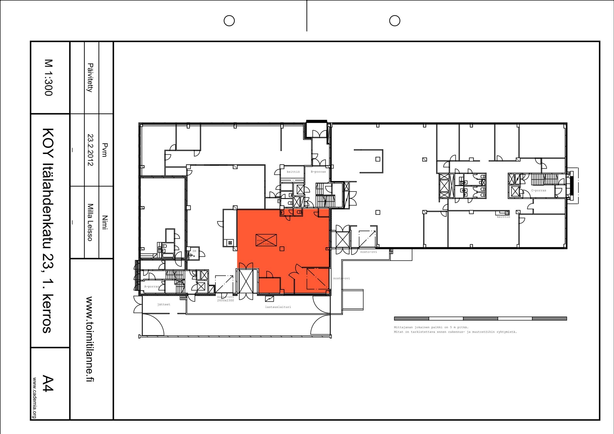 Toimitilanne Suomi, Helsinki - Lauttasaari, Itälahdenkatu 23. Varastotila 152 m²