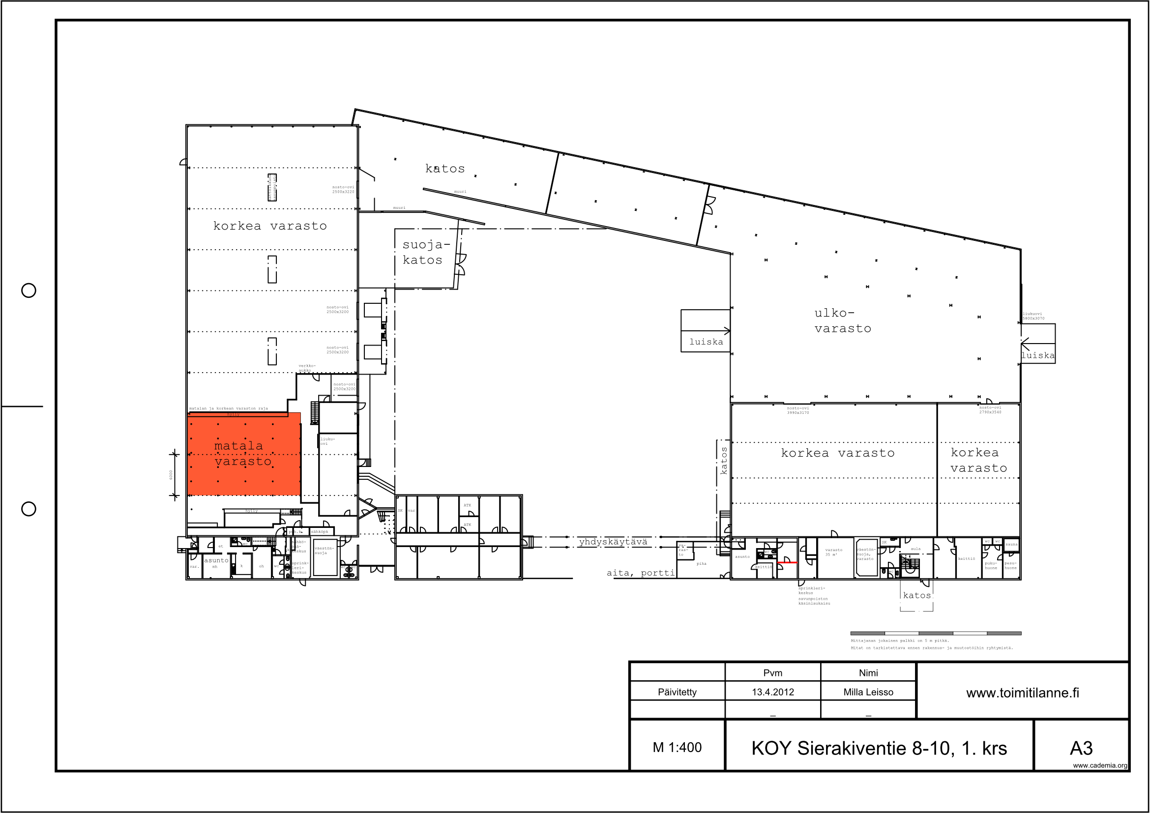 Toimitilanne Suomi, Espoo - Kauklahti, Sierakiventie 8-10, Varastotila 201 m²