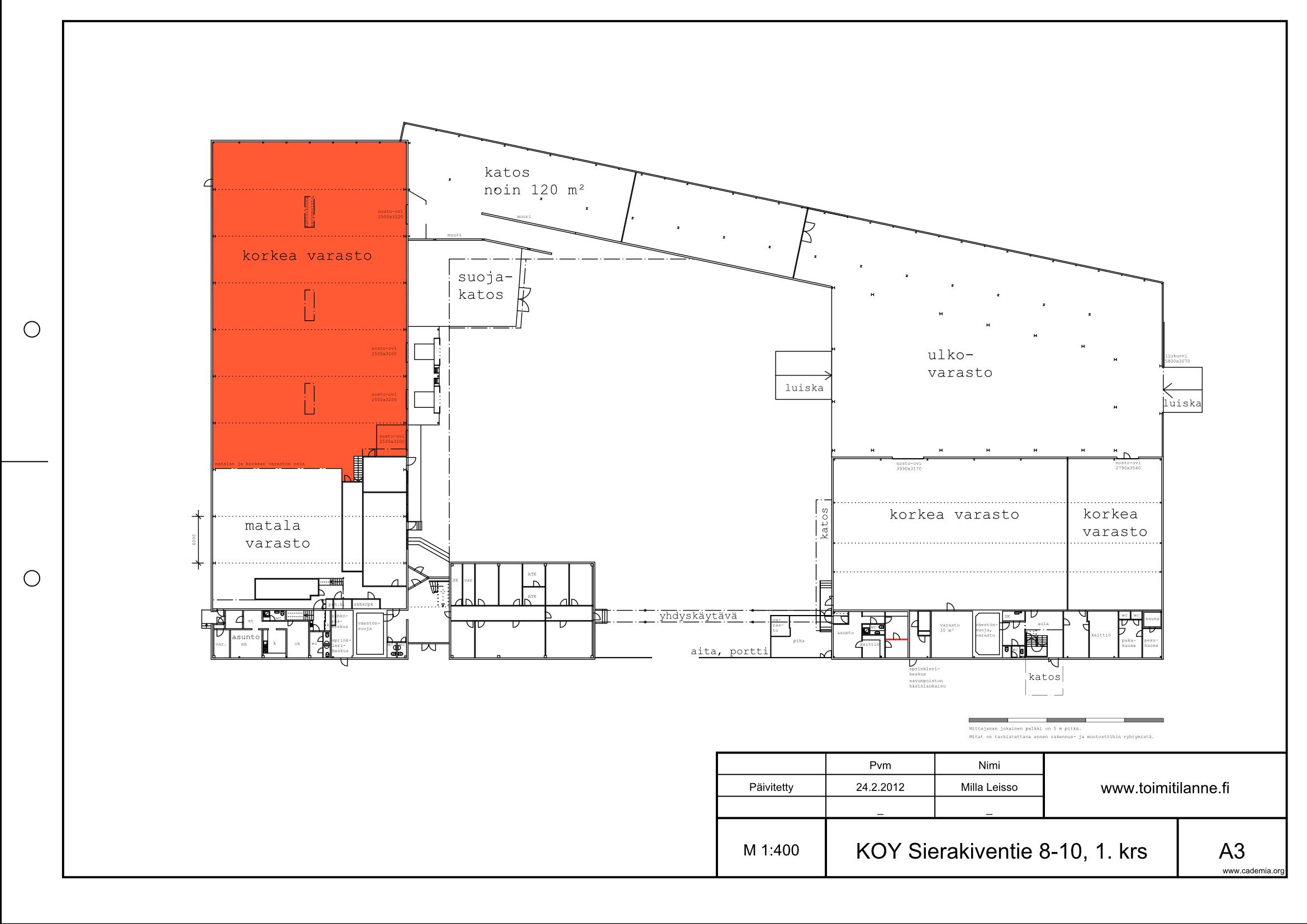 Toimitilanne Suomi, Espoo - Kauklahti, Sierakiventie 8-10, Varastotila 1043 m²