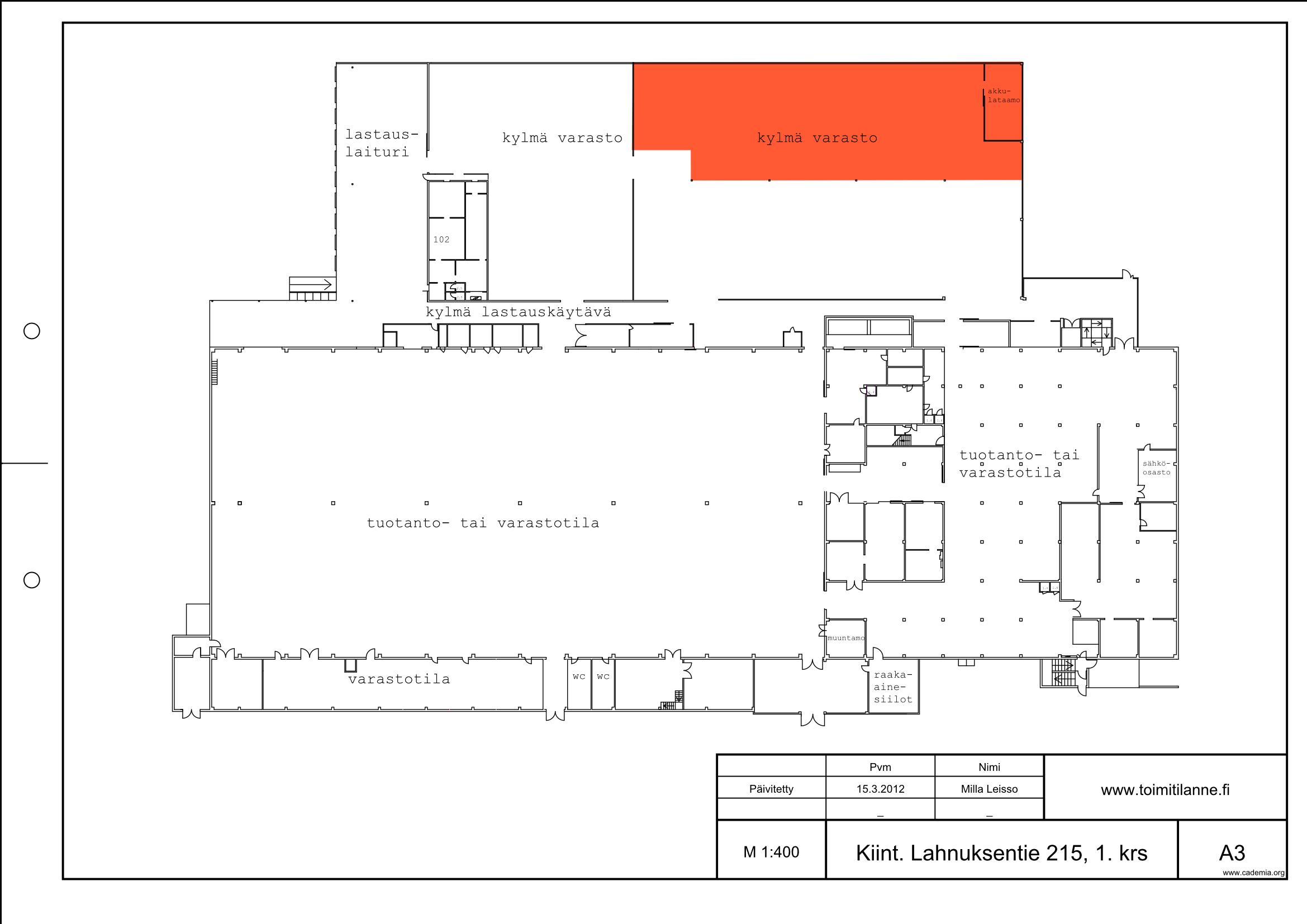 Toimitilanne Suomi, Nurmijärvi - Klaukkala, Lahnuksentie 215. Kylmä varastotila 750 m².