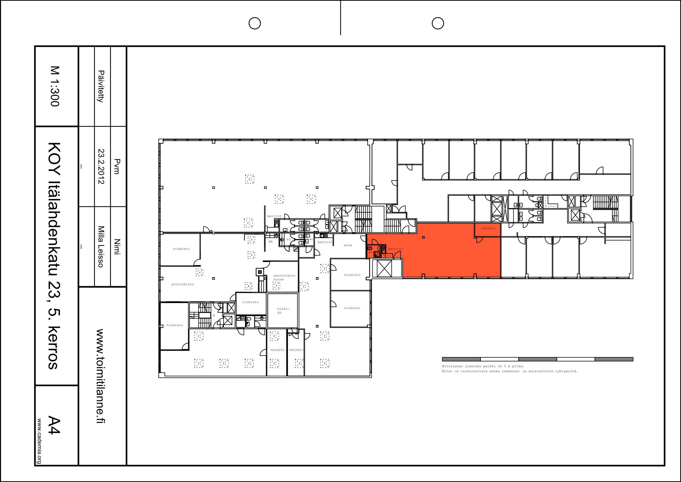 Toimitilanne Suomi, Helsinki - Lauttasaari, Itälahdenkatu 23. Toimistotila 110 m².
