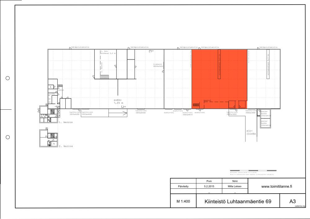 Toimitilanne Suomi, Vantaa - Luhtaanmäki, Luhtaanmäentie 69. Varasto- tai tuotantotila 960 m².