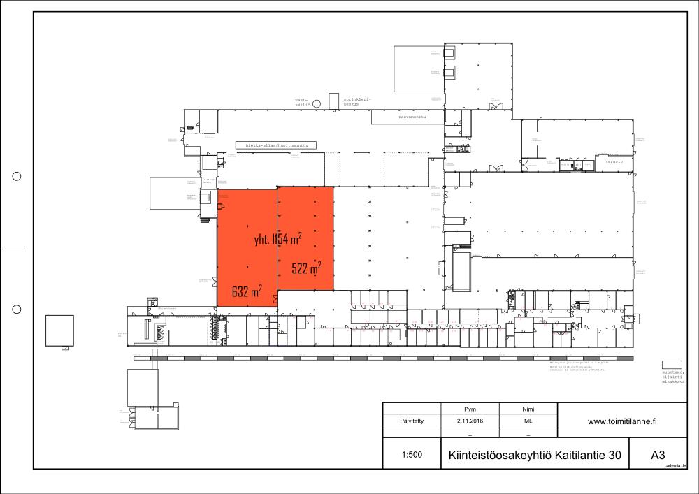 Toimitilanne Suomi, Lahden seutu - Orimattila, Kaitilantie 30. Tuotanto- tai varastotila 1154 m².