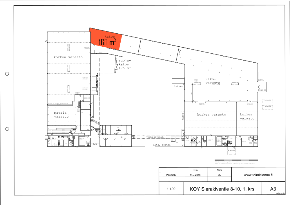 Toimitilanne Suomi, Espoo - Kauklahti, Sierakiventie 8-10, Ulkovarastotila 160 m²
