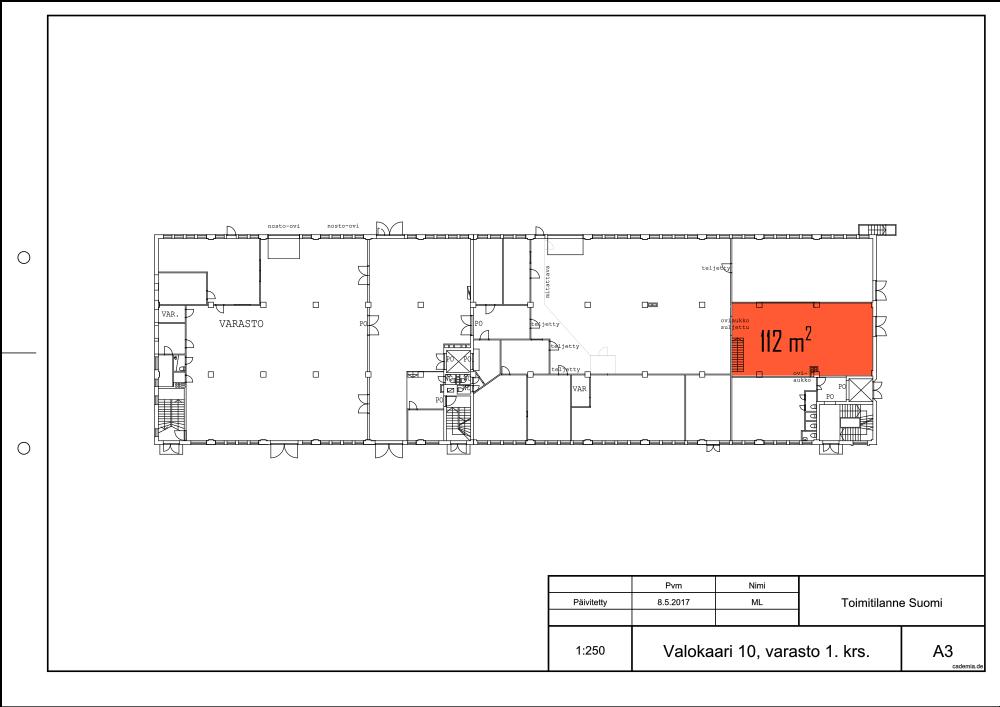 Toimitilanne Suomi, Helsinki - Suutarila, Valokaari 10. Tuotanto- tai varastotila 112 m². Pohjapiirros.